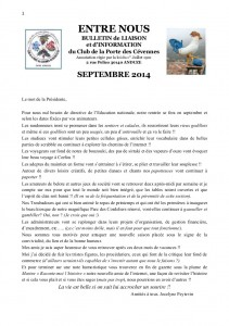 Gazette SEPTEMBRE 1